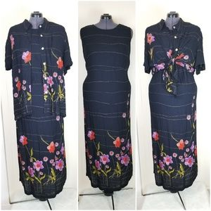 Vintage 1990s 2pc Floral Sheath Dress & Blouse